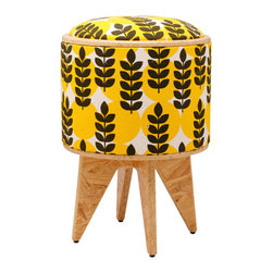 Patron Design - Ears of Corn Stool Ottoman - You know how important a good toolbox is in your home. But how can you get along without this versatile stool? Made from repurposed and ecofriendly materials, it features a body covered in hand-printed fabric and a reversible top. Use it as a footstool, a box, a seat, a table — or as a way to add color and pattern to your space.