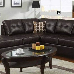 Poundex Furniture – U-Shaped Modular Leather Sectional Sofa - F7246/F7243 - Set Includes 3-Seater , Chaise