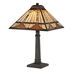 Quoizel Lighting - Quoizel Lighting TF1246TVB Vintage Bronze Tiffany 1 Light Table Lamp with Tiffan - Number of Bulbs: 1
