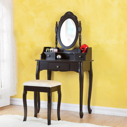 None - Madeleine Vanity Set - This dark espresso Madeline vanity set features beautiful Queen Anne solid wood legs for an antique look and a rotating,adjustable mirror with gorgeous engraving. The stunning vanity set includes a matching stool.