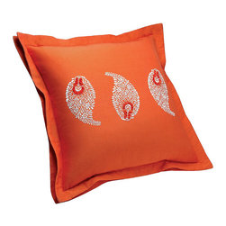 "Frontgate - Yves Delorme Sudare Safran Decorative Pillow - Made of Egyptian cotton sateen for luxurious softness. Simple design pairs well with other bedding items. Includes feather down insert. Hidden zipper closure. Our Yves Delorme Sudare Decorative Pillow brings a charming approach to the all-white, hotel-style embroidered bedding ensemble. Sudare, translated from Japanese to ""screen of windowless bamboo"" in English, boasts a bright orange background with a simple paisley design.  .  .  .  . Made in France."