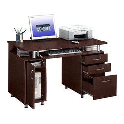 RTA Products - Techni Mobili Complete Computer Desk - Chocolate - This Techni Mobili Complete Computer Desk, featuring a storage cabinet and drawers, is perfect for home or office. It is made with heavy-duty engineered wood panels with a moisture resistant PVC laminate veneer and scratch-resistant powder-coated steel supports. The storage cabinet, designed for a CPU with a large back opening for cables and heat release, includes an accessory shelf. The large slide-out keyboard shelf is equipped with a safety stop. There are two storage drawers and one hanging file drawer. The desktop has an 80 lb weight capacity, while the shelves can each hold up to 30 lbs, and the drawers each have a 22 lb weight capacity.