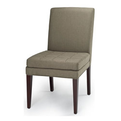 Safavieh - Safavieh Cole Side Chair - The Cole's chair straight-forward appeal with button tufting on the seat cushion is designed for cushiony comfort. Shown, in olive fabric and a dark cherry finish on the legs.