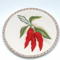 """ATD - 6.38 Inch """"Red Chili's on the Vine Garden"""" Themed Dinner Plate - This gorgeous 6.38 Inch """"Red Chili's on the Vine Garden"""" Themed Dinner Plate has the finest details and highest quality you will find anywhere! 6.38 Inch """"Red Chili's on the Vine Garden"""" Themed Dinner Plate is truly remarkable."""