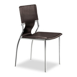 Zuo Modern - Zuo Modern Trafico Modern Dining Chair (Pack of 4) X-331404 - As conference or dining chair, the Trafico simply works. It is made with a leatherette sling and a chromed steel tube frame.