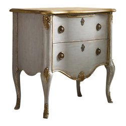 Hooker Furniture - French Two Drawer Chest - White glove, in-home delivery!  For this item, additional shipping fee will apply.  This enchanting chest is crafted from Poplar Solids and Gold Leaf.  It features two drawers.