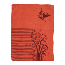 Cricket Radio - Indochine Friendship Hand Towel, Spice/Cherry - Looking to add a little soft color to your kitchen or guest bath? Let this towel give you a hand. It's handmade of Italian linen in several colors and features a bird and bamboo pattern printed with ecofriendly inks. The linen will become even softer and more absorbent over time.