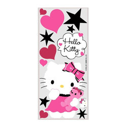 RoomMates Peel & Stick - Hello Kitty Couture Giant Wall Decal - Get stylish with Hello Kitty! These sweet wall graphics are sure to delight and inspire hello kitty fans of any age, young or old. These wall decals include a giant Hello Kitty, stars, hearts and more and they can be stuck to any smooth surface including walls, doors, windows, and more. You'll love how easy it is to transform your room with Hello Kitty!