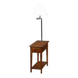 Leick Furniture - Leick Furniture Chairside Lamp Table with Drawer in Medium Oak Finish - Leick Furniture - End Tables - 9037MED - This chairside silhouette stands at your service beside recliners and upholstery where space is short. Layered with useful features rising up from the open display shelf, enclosed drawer storage, durable solid wood top, and finally the convenient, swing arm lighting at the perfect height for reading. A hand applied multi-step Medium Oak Finish will give you years of visual enjoyment.