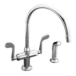 Kohler - Kohler K-8763-CP Polished Chrome Essex Double Handle Single Hole - Essex  kitchen sink faucet with wristblade handles and sidespray Perfect for your bar or game room lavatory, the Essex entertainment sink faucet features ADA-compliant wristblade handles and single-hole installation for a clean, functional look. The swing spout and sidespray provide the accessibility and convenience you need for entertaining large groups of friends and family. Solid brass construction and a one-piece ceramic valve that resists debris and hard water buildup ensure years of reliable performance.  Wristblade handles meet ADA requirements  Low-flow aerator option available (please see latest price book)