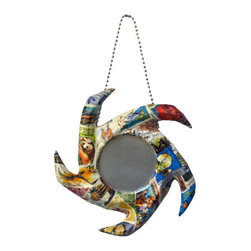 """Mirrors Decorated - """"Vela, Mirrored Hanging Ornaments with a World View - Create a vibrant focal point in your room with this handcrafted papier-mâché ornament, collaged with stamps for a one-of-a-kind piece. Choose the theme that represents you, or give one as a unique gift. Also available as a set of three ornaments. A ball chain is included for hanging, and an artist signature label is adhered to the back of the glass mirror. Made in the USA."""