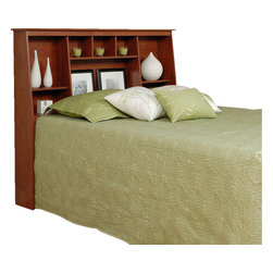 Prepac - Prepac Cherry Tall Bookcase Headboard - Double/ Queen - Get the most out of your bedroom's storage potential with the twin or full/queen tall slant-back bookcase headboard. With its unique yet versatile style, this headboard will perfectly complement your bedroom furnishings. Eight storage compartments of varying sizes add storage for everything from your bedside books to decorative odds-and-ends, without needing extra floor space. Perfect for a smaller bedroom, your twin bed completes the deal. This free-standing product is designed to be paired with any twin, full or queen bed including our mate's platform storage beds and our tall captain's platform storage beds.