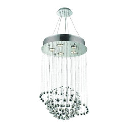 """PWG Lighting / Lighting By Pecaso - Bernadette 5-Light 16"""" Crystal Chandelier 1704D16C-RC - Brilliant and intense crystals suspended and slowly spinning in space are the centerpieces of this remarkably distinctive Bernadette Collection. Displaying all the rich and colorful beauty of crystal with virtually invisible and effortless support, this design affords the eye a mesmerizing experience."""