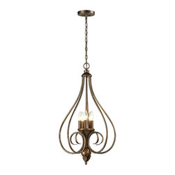 Elk Lighting - Elk Lighting-31391/5-Hamilton - Five Light Pendant - The Hamilton collection is designed with a Mocha finished scrolled iron frame with handsome proportions and classic charm. A unique lantern design graces the top of the chandeliers to enhance its old world charm.