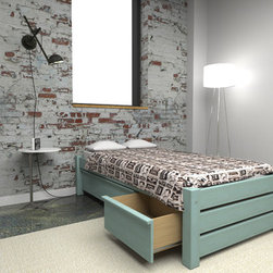Eco-Friendly Platform Beds with Storage - Maine Loft collection Green Eco Platform Bed