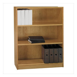 "Bush - Bush Universal 48""H 3 Shelf Wood Bookcase in Snow Maple - Bush - Bookcases - WL1244003 - The Bush Furniture Universal 48""H 3 Shelf Wood Bookcase in Snow Maple is a great choice if you need that bit of extra storage room. It is a perfect piece to add to a home office or small space. Two shelves are adjustable to accommodate book and file sizes."