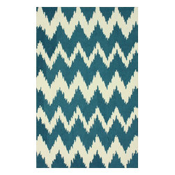 nuLOOM - Contemporary 9' x 12' Medium Blue Hand Tufted Area Rug Nuo Chevron Ikat - Made from the finest materials in the world and with the uttermost care, our rugs are a great addition to your home.