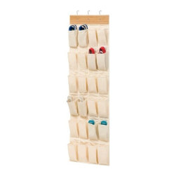 Honey Can Do - Honey-Can-Do Bamboo/Canvas 24-Pocket Over-the-Door Shoe Organizer - Turn a jumbled mess into a well-kept closet with this 24-Pocket shoe and accessory organizer. Easily hangs over any traditional closet door to keep 12-pair of shoes organized, off the floor, and out of sight. Complete with hanging hooks, this versatile organizer can also be used to store jewelry, scarves, gloves, craft supplies, small toys, or handheld electronics in an easy to access format. Beautiful bamboo accenting creates a classic, eco-friendly look that complements any decor. One item in Honey-Can-Do's mix and match collection of sturdy hanging organizers available in several colors, it's a perfect blend of economy and strength.