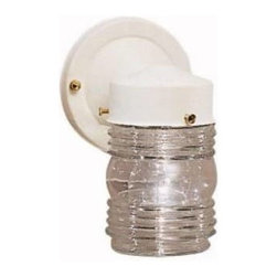 """Kichler - Kichler 1148WH Outdoor Miscellaneous 1 Light Outdoor Wall in White 1148WH - This compact, New Street Wall light is perfect for inexpensive outdoor lighting.Combined with a clear glass jar that surrounds one, 75-watt (max.) bulb U.L. Listed for Wet LocationBackplate Dimensions: 4-1 4"""" x 5 8"""" Bulb Base: A19 Medium Bulb Included: No Bulb Type: Incandescent Collection: Outdoor Miscellaneous Country of Origin: China Diffuser Description: Clear Glass Energy Star Compliant: No Extension: 5-3 4 Finish: White Height: 7-1 2 Height from Junction Box: 2-1 4 Light Direction: Ambient Lighting Material: Steel Max Watt: 75 Number of Lights: 1 Photocell: No Plug In: No Room: Outdoor Lighting Shade Shape: Jar Socket 1 Base: Medium Socket 1 Max Wattage: 75 Style: Utility UL CSA Listed: Yes Width: 4-1 2"""