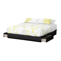"South Shore - South Shore Step One King Platform Bed with Drawers in Pure Black - South Shore - Beds - 3107237 - Thanks to its neutral yet trendy finish and clean lines, this king platform bed (78"") with drawers goes well with all of today's decors and styles. Furthermore, it features practical additional storage in the bedroom with its 2 drawers."
