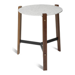 Blu Dot - Blu Dot Free Range Side Table - Your sofa will be stoked to have this table at its side. Clean lines keep it modern while solid walnut, marble and touches of brass add warmth and sophistication.