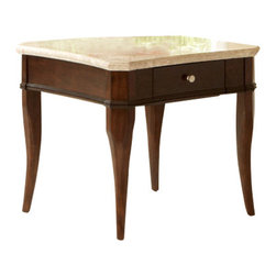 Steve Silver Furniture - Steve Silver Marseille Marble Top End Table - Marseille marble top end table belongs to Marseille collection by Steve Silver An elegant marriage of contemporary and traditional styling, this graceful Marseille cocktail table with its transitional styling will add sophistication to any room. The Marseille features a concaved shaped marble top and convenient drawer storage.