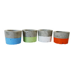 Anson Design CO - Concrete Planters - Set of 4 - Indoor Outdoor Planters - Succulent Planter - These concrete planters are perfect for your summer decor! This colorful crew will liven up any display - indoors or outdoors. The concrete planters are handmade by me and I've spray painted on a touch of color.