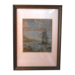 "Pre-owned G.Winkler 19th Century Hand Colored Etching - Beautiful marine scene hand colored etching by G. Winkler. In very good condition, matted and framed. It appears to be a page from an old book. With frame, the piece measures 15"" X 11"". The image itself measures 7.75"" X 6.75""."