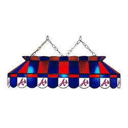Imperial International - Atlanta Braves MLB 40 - Glass Lamp - This 40-inch glass lamp is a great way to properly light your Pool Table while showing off your team spirit then. Real stained glass that matches your favorite teams colors. Looks great in any game room. Rack 'Em Up!
