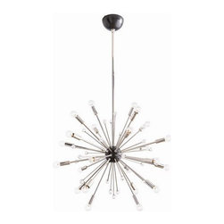 Arteriors - Arteriors Imogene Small Chandelier - Inspired by a trip to Paris, this 24 light modern starburst design in polished nickel is the perfect choice if you want drama, lots of light and a mid-century look. Also available in a larger size (89978). Shown with small clear globe bulbs.