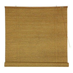 Oriental Furniture - Woven Jute Roll Up Blinds - (36 in. x 72 in.) - Woven Jute is a rustically beautiful all natural plant fiber, we've had woven into beautiful rustic window treatments. Roll up blinds are a particularly convenient design, both easy to operate and easy to install. Install right on the wood frame of the window, overhanging the opening, mounted on simple metal hooks. Convenient, rustically attractive inexpensive window treatments almost completely opaque, providing privacy and blocking light. Note that the large size blinds also work well as a ceiling mounted style retractable room divider or privacy screen.