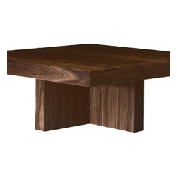 """Desiron - Living Room Lo-Lin Coffee Table - Massive yet light, the Lo-Lin Coffee Table is a powerful wood table which features a thick top that rests on an inset cross style base. Its low profile and Asian influences make this coffee table a perennial favorite. This table is just as durable as it is stylish. Features: -Cross style base.-Made in the USA.-All woods are certified from sustainable forests making Desiron ecologically conscious.-Wood veneer construction.-Order with Confidence:Color, grain variations, and veining are natural characteristics of steel, wood, and leather and will differ from piece to piece.-Living Room collection.-Collection: Lo-Lin Coffee Table.-Style: Coffee Table.-Distressed: No.-Powder Coated Finish: No.-Gloss Finish: No.-Wrought Iron: No.-Top Material: Wood.-Base Material: Wood.-Base Type: Cross Legs.-Solid Wood Construction: Yes.-Reclaimed Wood: No.-Non-Toxic: Yes.-UV Resistant: No.-Weather Resistant: No.-Scratch Resistant: No.-Stain Resistant: No.-Moisture Resistant: No.-Drop Leaf: No.-Shape: Square.-Lift Top: No.-Tray Top: No.-Storage Under Tabletop: No.-Folding: No.-Hand Painted: No.-Magazine Rack: No.-Built In Clock: No.-Powered: No.-Nested Stools Included: No.-Casters: No.-Exterior Shelves: No.-Cabinets Included: No.-Drawers Included: No.-Cable Management: No.-Adjustable Height: No.-Glass Component: No.-Upholstered: No.-Outdoor Use: No.-Swatch Available: Yes.-Commercial Use: No.-Recycled Content: No.-Eco-Friendly: Yes.-Product Care: Wipe with lightly damp sponge.-Country of Manufacture: United States.Specifications: -FSC Certified: Yes.Dimensions: -Overall Height - Top to Bottom: 15"""".-Overall Width - Side to Side: 35"""".-Overall Depth - Front to Back: 35"""".-Table Top Thickness: 3"""".-Table Top Width - Side to Side: 35"""".-Table Top Depth - Front to Back: 35"""".-Shelving: No.-Legs: -Leg Height - Top to Bottom: 12"""".-Leg Width - Side to Side: 3"""".-Leg Depth - Front to Back: 19""""..-Overall Product Weight: 125 lbs.Assembly: -Assembly Required: No."""