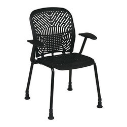 Office Star - Space Seating 801 Series Deluxe SpaceFlex Raven Seat & Back Visitors Chair - Bla - Deluxe SpaceFlex Raven Seat and Back Visitors Chair with Black Frame, Arms and Glides (2-Pack)