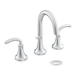 "Moen - Moen TS6520 Chrome Icon Double Handle Widespread Bathroom Faucet from - Product Features:  Metal faucet body construction ensures durability and reliability for the life of the faucet Covered under Moen s limited lifetime faucet warranty Premier finishing process - finishes will resist corrosion and tarnishing through everyday use The Icon Collection takes ordinary to extraordinary with its modern style; sure to perfectly fit any contemporary décor Double handle operation - handles rest on 1/4 turn valves ADA compliant - complies with the standards set forth by the Americans with Disabilities Act for bathroom faucets Low lead compliant - meeting federal and state regulations for lead content WaterSense certified product - using at least 30% less water than standard 2.2 GPM faucets, while still meeting strict performance guide lines Required valve system sold separately Designed for use with standard US plumbing connections All hardware needed for mounting is included with faucet  Product Technologies / Benefits:  M-PACT Common Valve System: This innovation from Moen gives the homeowner the up-most functionality and convenience when it comes to bathroom faucets. Designed to be a catch-all valve system, once M-PACT is installed you can upgrade the style of the lavatory or shower faucet without replacing nay of the faucet plumbing. WaterSense/Eco-Performance: To help make a difference on a global scale and further its role as industry leaders in eco-performance practices, Moen has established partnerships with a number of environmental organizations, including WaterSense. As of January 2009 all Moen bathroom faucets feature flow optimizing aerators; meaning they use less water, without sacrificing product performance.  Product Specifications:  Overall Height: 9"" (meas"