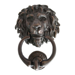Eron Johnson Antiques - Small Antique Reproduction Bronze Lion Head Door Knocker - This piece is a faithful reproduction of the 18th century original, a contemporary casting we commission for our clientele who often find such period pieces impossible to find.