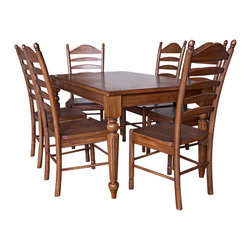 Carolina Cottage - 7 Pc. Dining Table & Chairs Set in English Pi - Includes dining table and 6 chairs. Rectangular table can seat 5 - 6 people and features beautifully detailed turned legs. Beautiful 3 step hand finish with rubbed edges for a worn unique look. Made from 100% solid select Asian hardwood chairs. Easy to clean durable finish. Assembly required. Table: 60 in. W x 36 in. D x 30 in. H (90 lbs.). Chairs:. Seat dimensions: 17.5 in. W x 16.5 in. D x 18 in. H. Total: 18 in. W x 16 in. D x 42 in. H (20 lbs.)