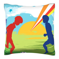 Custom Photo Factory - Children Playing Soccer Pillow.  Polyester Velour Throw Pillow - Children Playing Soccer Pillow. 18 Inches x 18  Inches.  Made in Los Angeles, CA, Set includes: One (1) pillow. Pattern: Full color dye sublimation art print. Cover closure: Concealed zipper. Cover materials: 100-percent polyester velour. Fill materials: Non-allergenic 100-percent polyester. Pillow shape: Square. Dimensions: 18.45 inches wide x 18.45 inches long. Care instructions: Machine washable