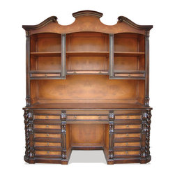 Koenig Collection - Old World Victorian Workstation, Mahogany Stain With Torched Panels - Old World Victorian Workstation, Mahogany Stain with Torched Panels