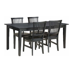 Home Styles - Arts and Crafts 5 Piece Dining Set - Features : Features: -5 Piece dining set includes one table and four chairs.-Includes 18'' leaf (extends the table to 66''.-Constructed of solid wood.-Rich multi-step ebony finish.-Collection: Arts and Crafts.-Distressed: No.-Top Finish: Black.-Base Finish: Black.-Chair Finish: Black.-Powder Coated Finish: No.-Gloss Finish: No.-Top Material: Hardwood solids.-Base Material: Hardwood solids.-Chair Material: Hardwood solids.-Solid Wood Construction: No.-Reclaimed Wood: No.-Number of Items Included: 5.-Scratch Resistant: No.-Rust Resistant: No.-Leaf Included: Yes -Number of Leaves: 1..-Seating Capacity: 6.-Wine Storage: No.-Shelving: No.-Drawers: No.-Stemware Holder: No.-Upholstered Side Chair: No.-Upholstered Arm Chair: No.-Upholstered Bench: No.-Cushioned Chair Seats: No.-Chair Casters: No.-Lighted: No.-Outdoor Use: No.-Commercial Use: No.-Recycled Content: No.-Eco-Friendly: No.-Product Care: Clean with damp cloth.Specifications: -ISTA 3A Certified: Yes.Dimensions: -Overall dimensions : 30'' H x 48-66'' W x 36'' D.-Overall Chair Dimensions: 37.75'' Height x 17.75'' Width x 22.25'' Depth.-Table: -Overall Table Height - Top to Bottom: 30.-Overall Table Width - Side to Side: 48.-Overall Table Depth - Front to Back: 36.-Overall Table Weight: 105..-Side Chair: -Overall Side Chair Height - Top to Bottom: 37.75.-Overall Side Chair Width - Side to Side: 17.75.-Overall Side Chair Depth - Front to Back: 22.25.-Side Chair Seat Height: 18.-Overall Side Chair Weight: 22..Assembly: -Assembly Required: Yes.-Tools Needed: Phillips screwdriver.-Additional Parts Required: No.Warranty: -Product Warranty: 30 day parts warranty.