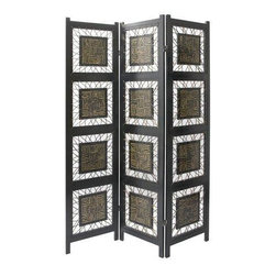 Oriental Furniture - 6 ft. Tall Coco Twig Room Divider - The Coco Twig Room Divider is a stunning piece of artwork that deserves center stage in any room. Each panel boasts four intricately inlaid squares attached to the frame with rope. Imported directly from Southeast Asia.