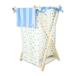 "Trend Lab - Hamper Set - Dr. Seuss Blue Oh! The Places You'll Go! - Dr. Seuss' Blue Oh! the Places You'll Go! Hamper Set by Trend Lab is a decorative solution for quick clean up. The charming dot print body with striped outer flap easily attaches to the collapsible pine wood frame. The fashionable color palette of cornflower blue, powder blue, grass green, key lime and soft yellow make this hamper suitable for any room of the house. Machine washable inner mesh liner is removable making the transport of laundry effortless. Assembled hamper measures 27"" x 15"" x 15"". This hamper coordinates with the Dr. Seuss Blue Oh! the Places You'll Go! collection. Product sold under license from Dr. Seuss Enterprises, L.P."