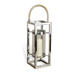 Interlude Home - Interlude Home Aalia Lanten - This Interlude Home Lanten is crafted from Steel and Wood and Glass and finished in Polished Nickel and Natural.  Overall size is:  10 in. W  x  8 in. D x 27 in. H.