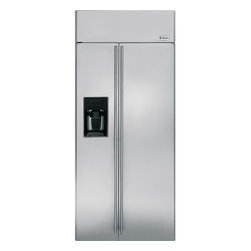 "GE Monogram - GE Monogram® 36"" Built-In Side-by-Side Refrigerator with Dispenser - Monogram built-in side-by-side refrigerators are among the largest-capacity built-in refrigerators available. Like commercial refrigerators, Monogram built-in side-by-side refrigerators use an overhead evaporator system. This allows independent cooling of the freezer and fresh food compartments—giving you greater temperature control, while eliminating the transfer of moist air and food odors."