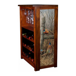 Kelseys Collection - Wine Cabinet 15 bottle Abandoned Fenceline - Wine Cabinet stores fifteen wine bottles and glassware with licensed artwork by Rosemary Millette giclee-printed on canvas side panels  The frame, top, and racks are solid New Zealand radiata pine with a hand stained and hand rubbed medium reddish brown finish, which is then protected with a lacquer coat and top coat. The art is giclee printed on canvas with three coats of UV inhibitor to protect against sunlight, extending the life of the art. The canvas is then glued onto panels and inserted into the frames.