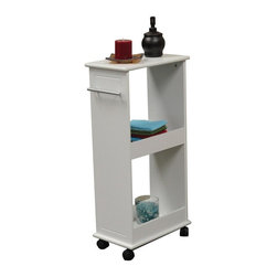RiverRidge - Rolling Side Cabinet - Includes two shelves. Four Smooth rolling wheels. Two wheels lock in place. Utilize top shelf for additional storage. Satin finish pull handle may also be used as towel bar for hand towel or wash cloth. Stores out of way at end of counter or against wall. Made from painted MDF and wood composite. White finish. Assembly required. 15.75 in. W x 9.45 in. D x 32.5 in. H (19 lbs.)Add extra storage space with convenient bath shelf from River Ridge® Home.