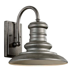 """Murray Feiss - Country - Cottage Feiss Redding Station 12"""" Tarnished Outdoor Wall Lantern - This medium outdoor wall light will bring an updated industrial style to your exterior space. Its sturdy modern origin is evident in the bold curve of the arm and clean look of the metal shade all in a warm tarnished finish for a vintage look. Perfect next to a door on the garage or out back on the workshop. From the Murray Feiss outdoor lighting collection. Vintage-look outdoor wall light. Metal construction. Classic tarnished finish. Curved arm reveals contemporary influence. From Murray Feiss. One maximum 100 watt bulb (not included). 12"""" wide. 12 1/2"""" high. Extends 13 1/2"""". Back plate is 4 3/4"""" x 8"""".  Vintage-look outdoor wall light.  Metal construction.  Classic tarnished finish.  Curved arm reveals contemporary influence.  From Feiss.  One maximum 100 watt bulb (not included).  12"""" wide.  12 1/2"""" high.  Extends 13 1/2"""".  Back plate is 4 3/4"""" x 8""""."""