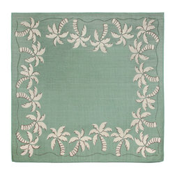 """Trans-Ocean - 94""""x94"""" Terrace Palmtree Bdr Aqua Rug - Casual and Simple pattern combined with beautifully blended yarns in modern colors make this Machine Made rug rise above the rest.Wilton Woven in Turkey of 100% Polypropylene and UV stabilized for Indoor or Outdoor use.A loose weave of Polypropylene creates the look of natural fibers but is easy to care for. Made in Turkey."""