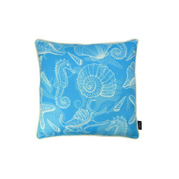 Lava - Ocean Blue 18 x 18 Pillow (Indoor/Outdoor) - 100% polyester cover and fill. Made in USA. Spot clean only. Safe for use indoors or out.