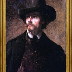 """Eastman Johnson-18""""x24"""" Framed Canvas - 18"""" x 24"""" Eastman Johnson Man with a Hat (also known as Self Portrait) framed premium canvas print reproduced to meet museum quality standards. Our museum quality canvas prints are produced using high-precision print technology for a more accurate reproduction printed on high quality canvas with fade-resistant, archival inks. Our progressive business model allows us to offer works of art to you at the best wholesale pricing, significantly less than art gallery prices, affordable to all. This artwork is hand stretched onto wooden stretcher bars, then mounted into our 3"""" wide gold finish frame with black panel by one of our expert framers. Our framed canvas print comes with hardware, ready to hang on your wall.  We present a comprehensive collection of exceptional canvas art reproductions by Eastman Johnson."""