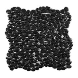 CNK Tile - Mini Polished Black Pebble Tile - Each pebble is carefully selected and hand-sorted according to  color, size and shape in order to ensure the highest quality pebble tile  available.  The stones are attached to a sturdy mesh backing using  non-toxic, environmentally safe glue.  Because of the unique pattern in  which our tile is created they fit together seamlessly when installed so  you can't tell where one tile ends and the next begins!